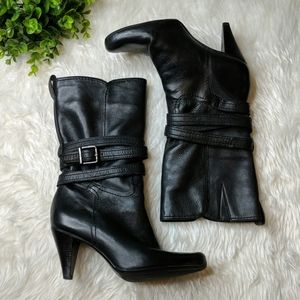 Gianni Bini Black Leather Wrap Heeled Boots